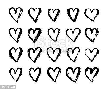 Vector Inkt Hart Symbool Op Happy Valentines Day Grunge Stijl