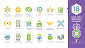 Vector innovation technology color glyph icon set with internet of things, artificial intelligence, machine learning, cloud computing, open data, sensors and more high tech smart digital symbols.