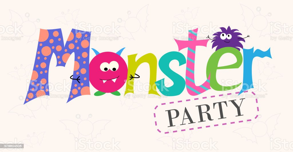 Vector Inscription Monsters Party Cartoon Monsters Design Of Cards