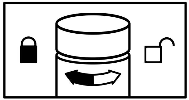 ilustrações de stock, clip art, desenhos animados e ícones de vector instructions  to open a bottle of aerosol deodorant. the white arrow shows to open by turning the cover to the right.black closes turning left. spray cap and locks open and closed on the sides. - going inside eye
