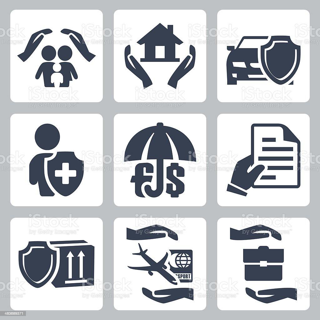 Vecteur Ensemble d'icônes d'assurance - Illustration vectorielle