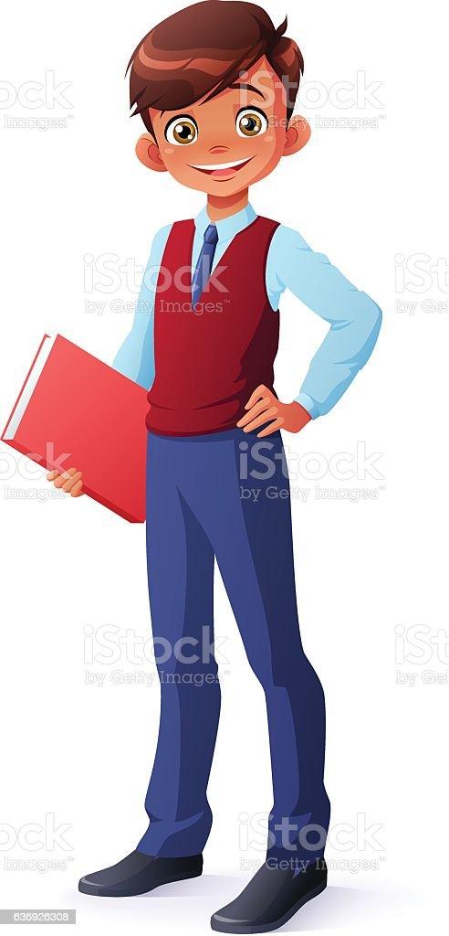 Vector intelligent young school boy in uniform standing with book. vector art illustration