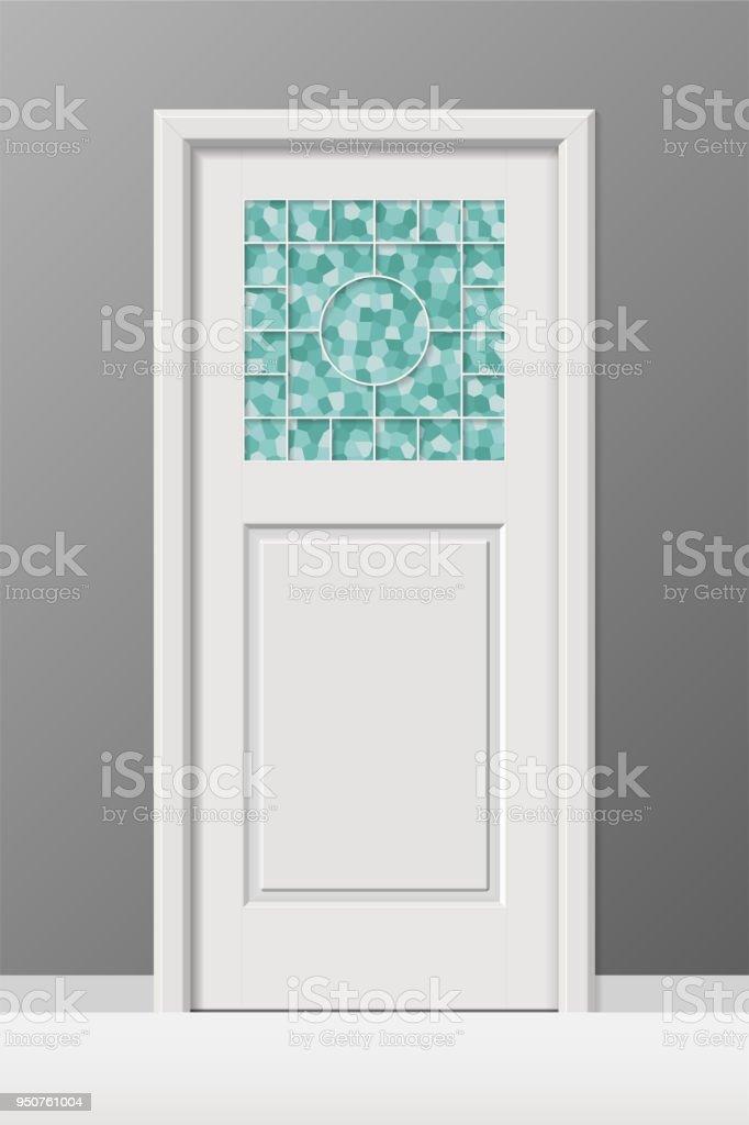 Vector Interior Door With Stained Leaded Art Glass Window Stock