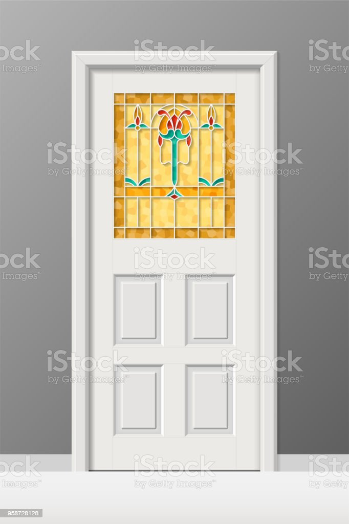 Vector Interior Door With Stained Leaded Art Glass Window Stock