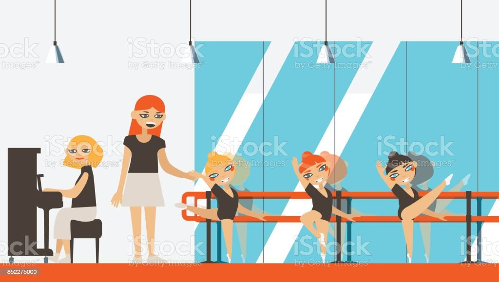 Vector interior in flat style with little ballerinas vector art illustration
