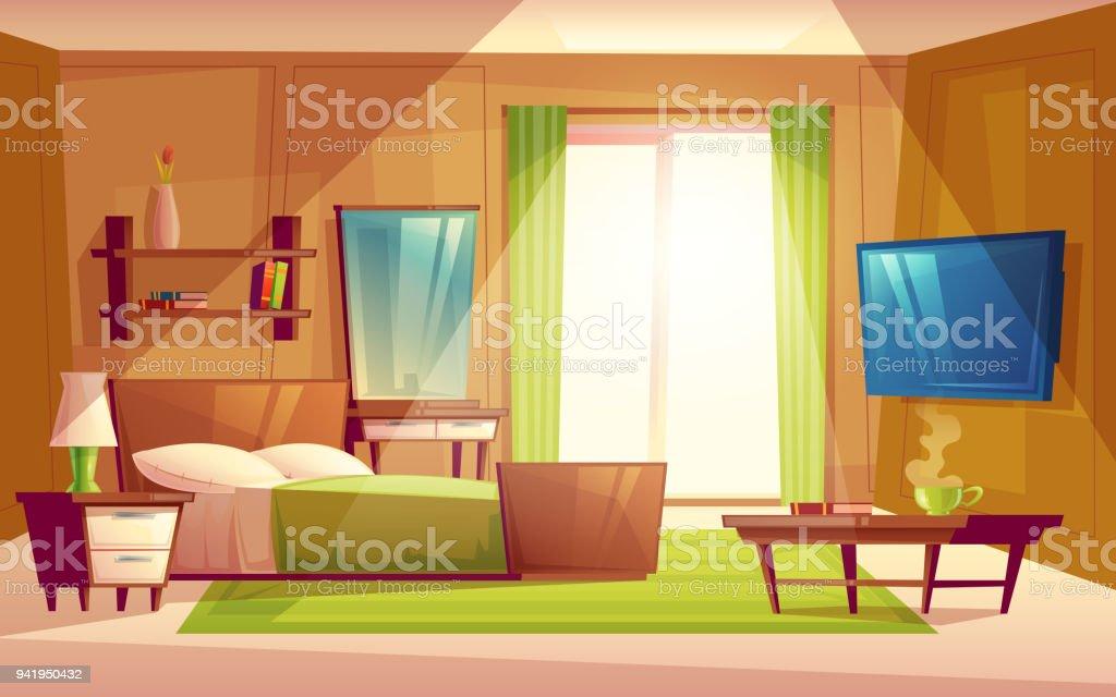 Interieur De Vecteur De La Chambre A Coucher Meubles De Salon