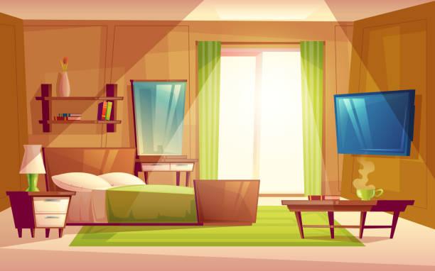 ilustrações de stock, clip art, desenhos animados e ícones de vector interior of bedroom, living room furniture - living room background