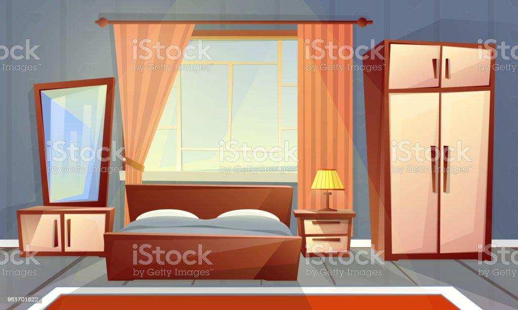 Interior De Vector De Dormitorio Muebles De Sala - Arte vectorial de ...