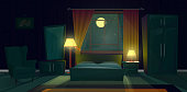 Vector interior of bedroom with furniture at night