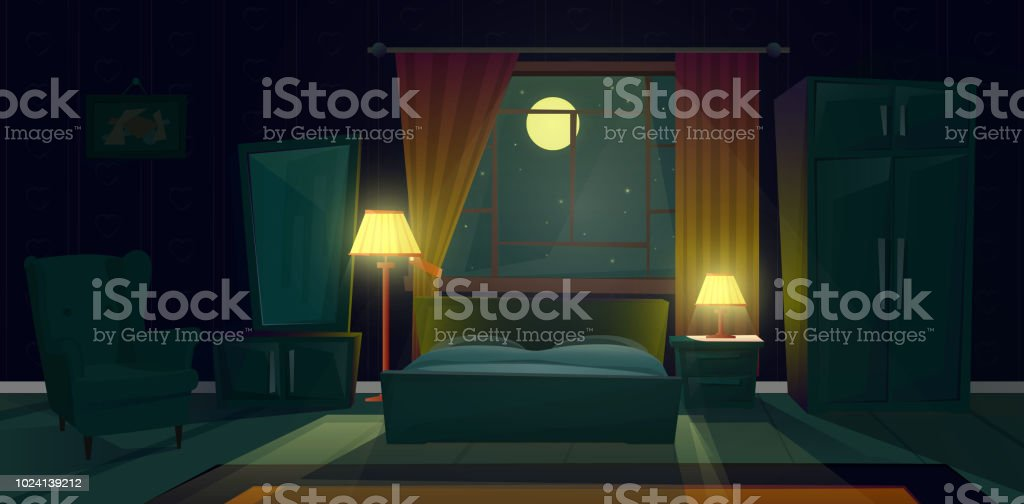 Vector interior of bedroom with furniture at night vector art illustration