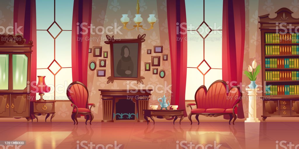 Vector Interior Of Victorian Living Room Stock Illustration Download Image Now Istock