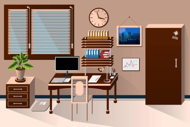 vektor innen bürozimmer im klassischen stil. vektor-illustration - stiftehalter stock-grafiken, -clipart, -cartoons und -symbole