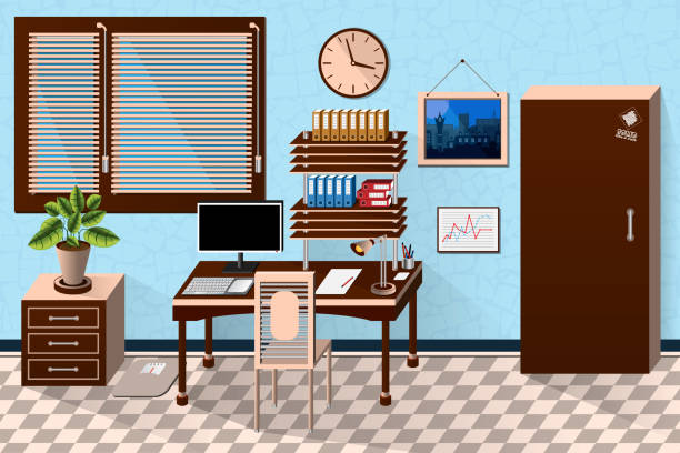 vektor innen bürozimmer im dunklen hölzernen stil. vektor-illustration - stiftehalter stock-grafiken, -clipart, -cartoons und -symbole