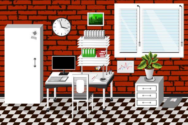 vektor innen bürozimmer im modernen stil. vektor-illustration - stiftehalter stock-grafiken, -clipart, -cartoons und -symbole