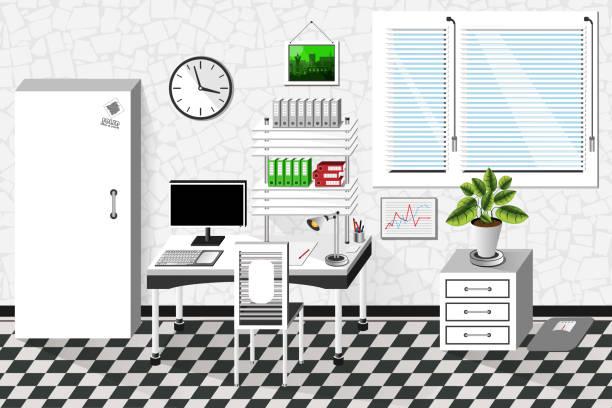 vector interior office room in white style. vector illustration - stiftehalter stock-grafiken, -clipart, -cartoons und -symbole