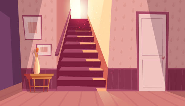 Vector interior with staircase, stairs in house Vector interior with staircase and white door in house. Home inside with light from window and shadows on steps. Front view of stairs with handrail, table with vase in maroon colors. inside of stock illustrations