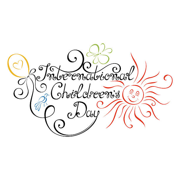 stockillustraties, clipart, cartoons en iconen met vector international children's day inscription - festival logo baby