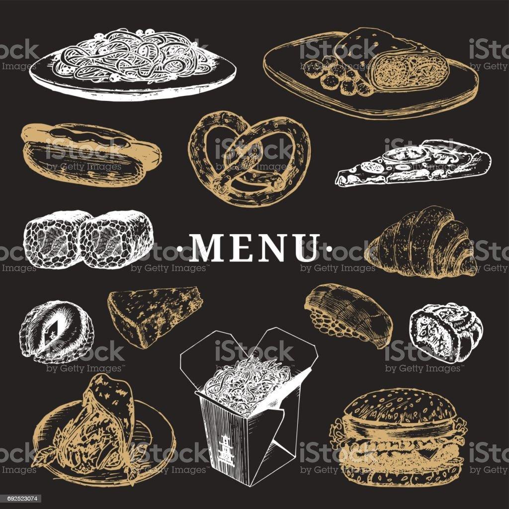ベクトル世界各国料理メニュー。フュージョン料理アラカルト。ヴィンテージ手描きの簡単な食事のコレクションです。ファーストフードのアイコン。 ベクターアートイラスト