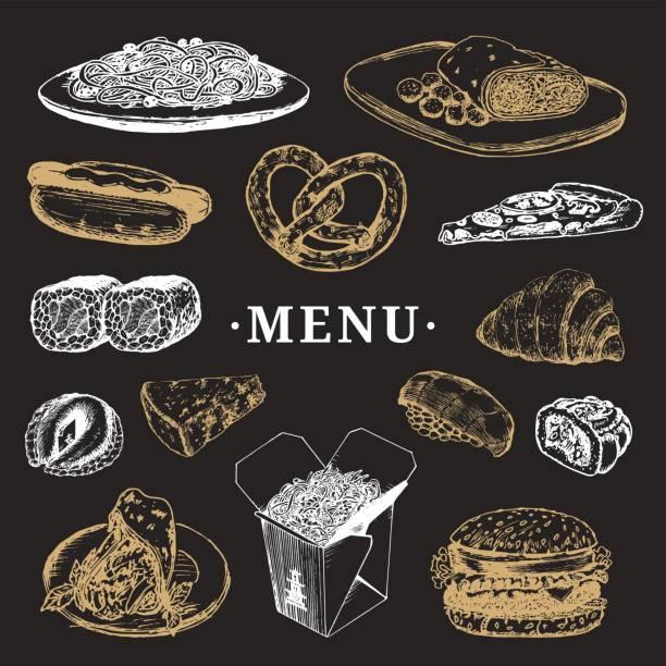 ベクトル世界各国料理メニュー。フュージョン料理アラカルト。ヴィンテージ手描きの簡単な食事のコレクションです。ファーストフードのアイコン。 - フランス料理点のイラスト素材/クリップアート素材/マンガ素材/アイコン素材