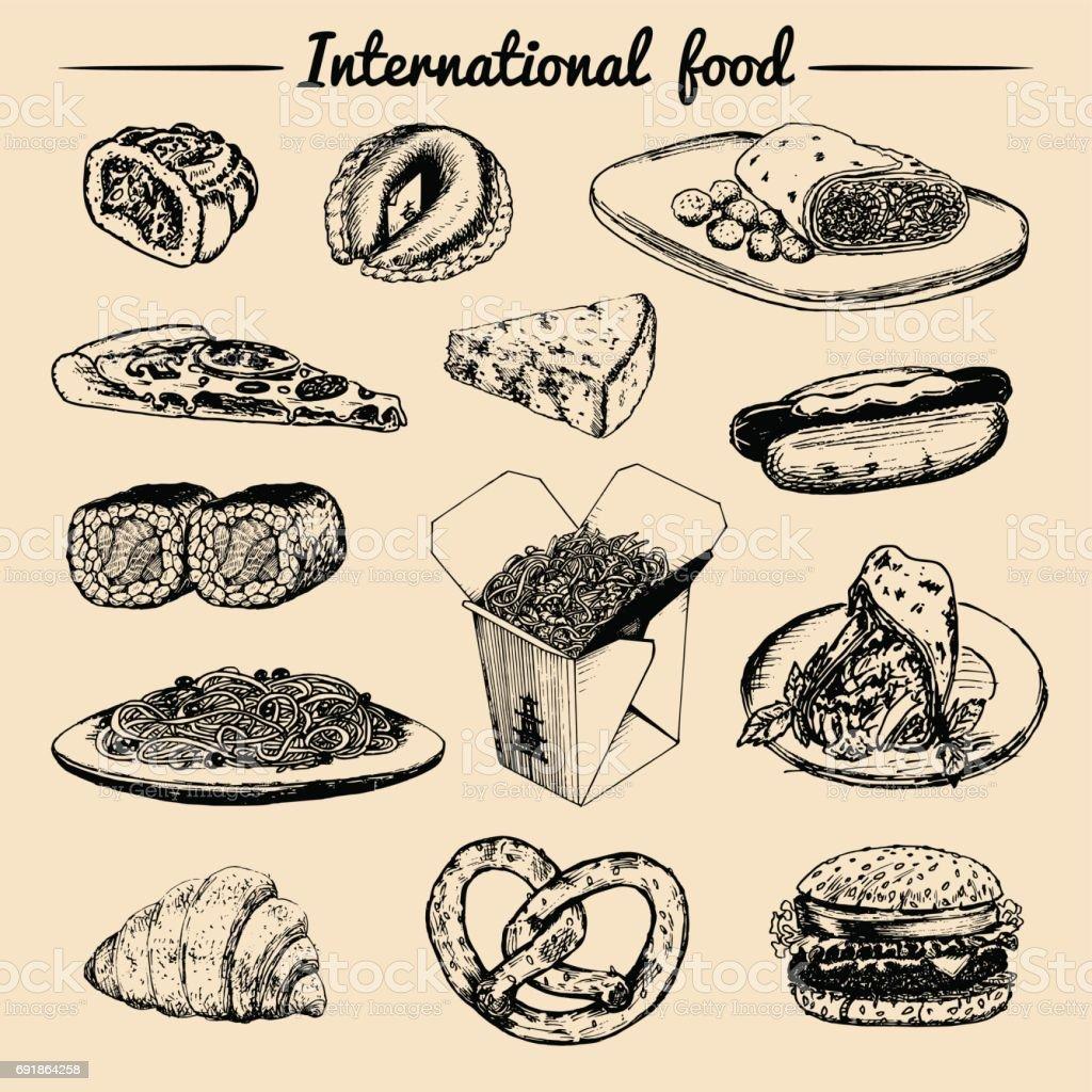 ベクトル世界各国料理メニュー。フュージョン料理アラカルト。ヴィンテージ手描きの簡単な食事のコレクションです。ファーストフードのレストランのアイコン ベクターアートイラスト