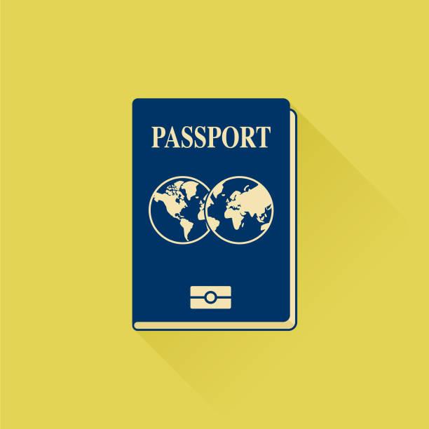Vector international passport cover template Passport Icon Vector airport borders stock illustrations