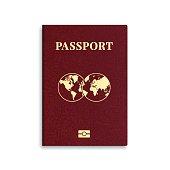Vector international passport red cover template