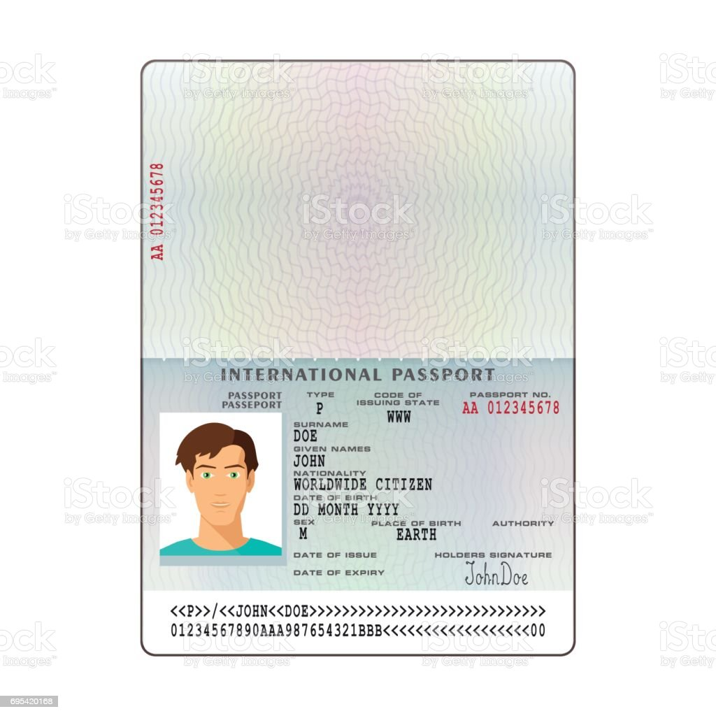Vector International Passport Template With Sample Personal Data ...