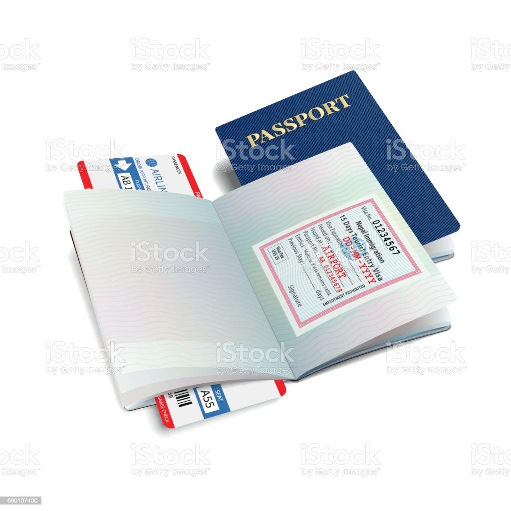 Vector internationella pass med Nepal visum vektorkonstillustration
