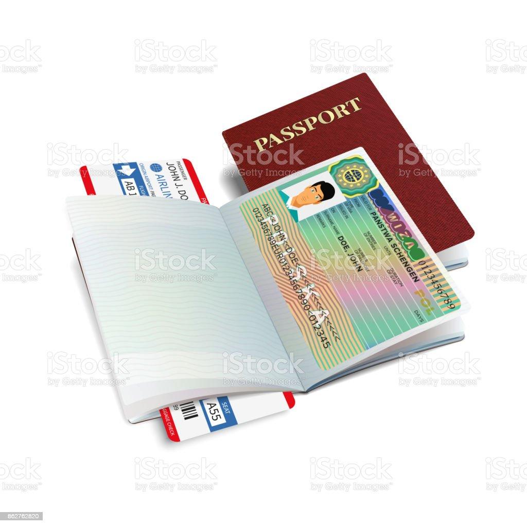 Vektor Reisepass Mit Visum Polen Lizenzfreies Vektorreisepass Mit Visum  Polen Stock Vektor Art Und Mehr