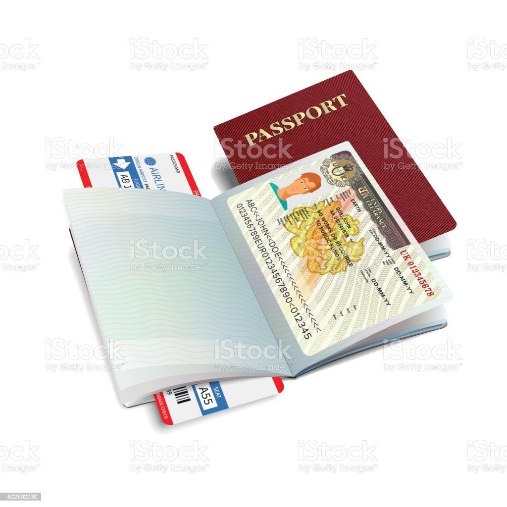 Vector internationella pass med Storbritannien visum vektorkonstillustration