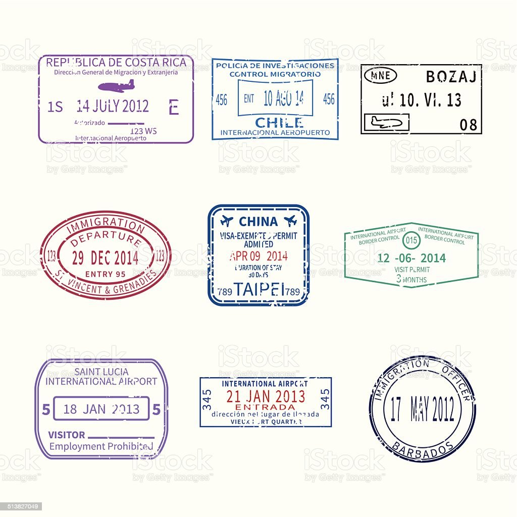 Vector international travel visa stamps for passport set vector art illustration