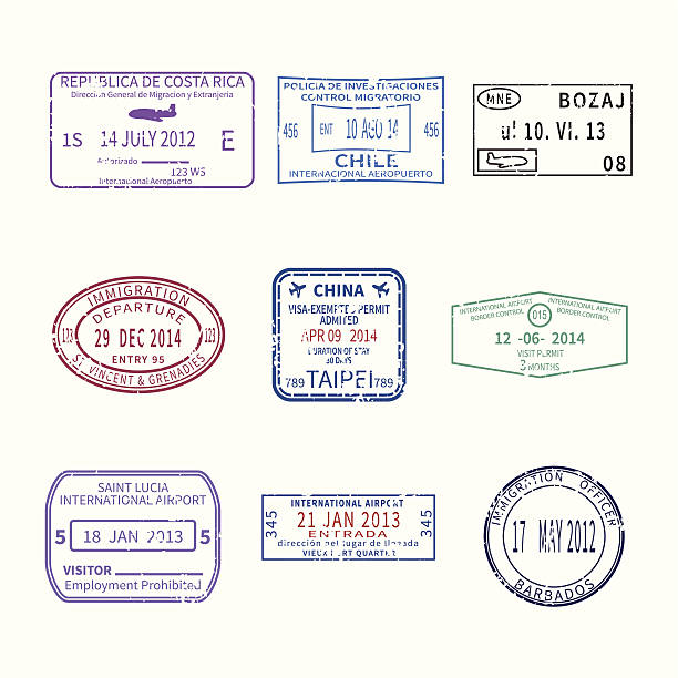 Vektor international travel Visum Briefmarken für passport-set – Vektorgrafik