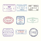 Vector international travel visa stamps for passport set