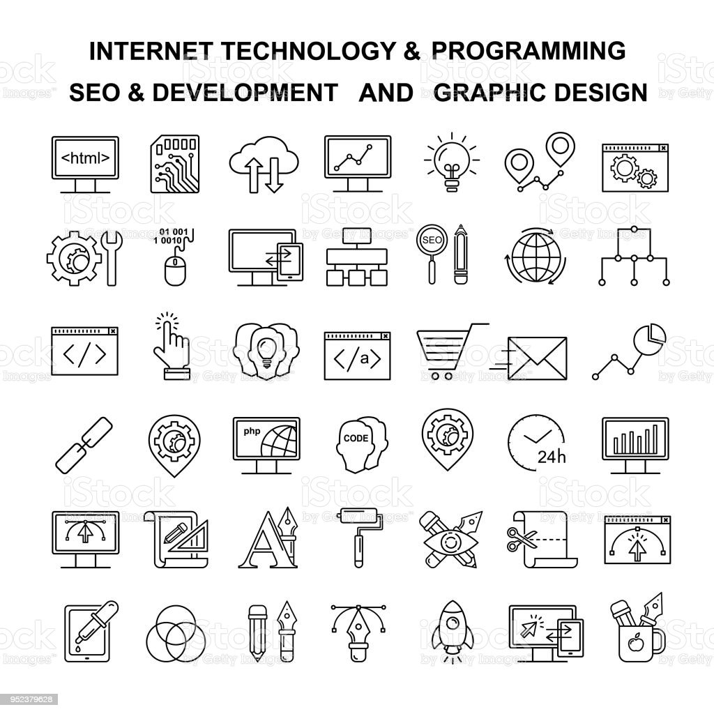 Vector Internet technology and programming linear icons. Html and php  line style simbols. Black development, seo and optimization and graphic designer tools icons.