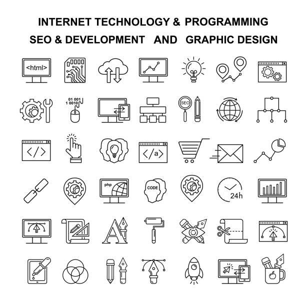 vektor-internet-technologie und programmierung lineare symbole. html und php linie stil symbole. schwarzen entwicklung, seo und optimierung und grafik-designer-tools symbole. - html stock-grafiken, -clipart, -cartoons und -symbole