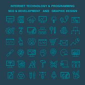 Vector Internet technology and programming linear icons. Html and php line style icons. Bright development linear icons on black. Line style seo and optimization icons. Graphic designer tools icons.