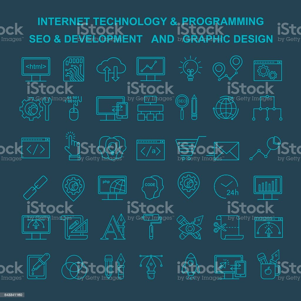 Vector Internet technology, design and programming linear icons. vector art illustration