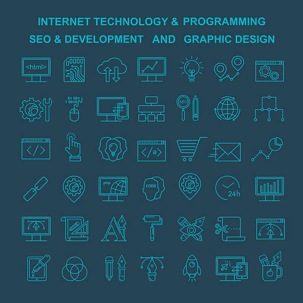 Vector Internet technology, design and programming linear icons. – Vektorgrafik