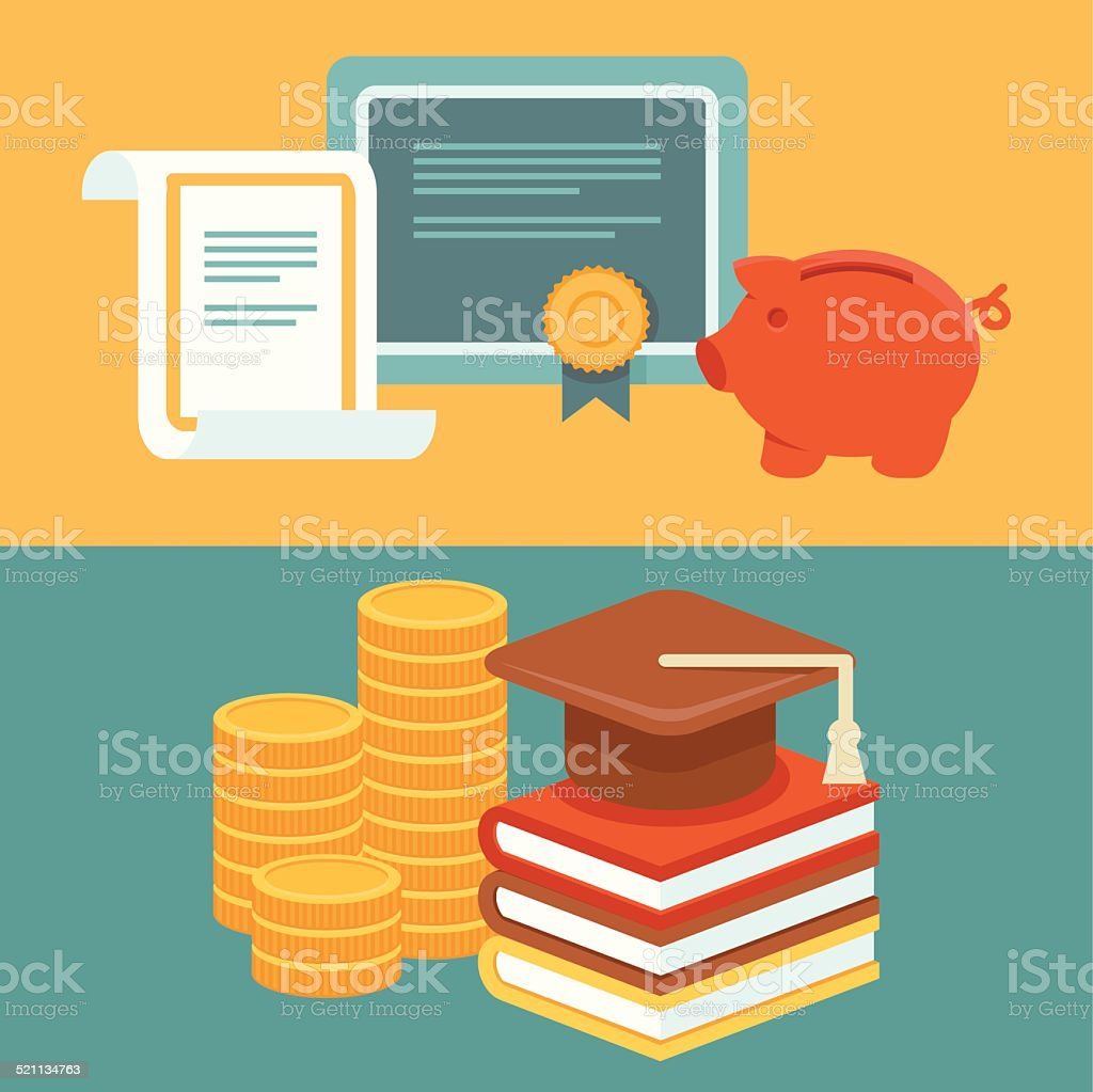 Vector invest in education concept in flat style vector art illustration