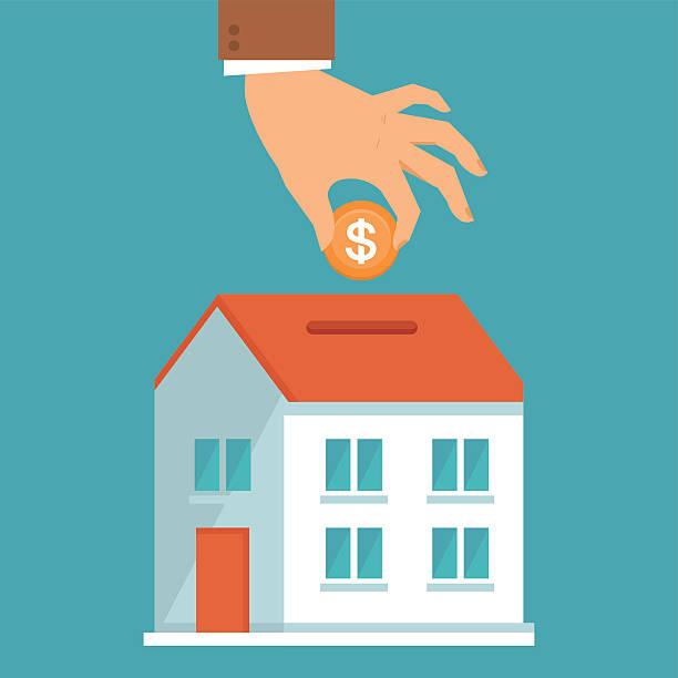 ilustraciones, imágenes clip art, dibujos animados e iconos de stock de concepto de vector de estilo plano de inversión - hipotecas y préstamos