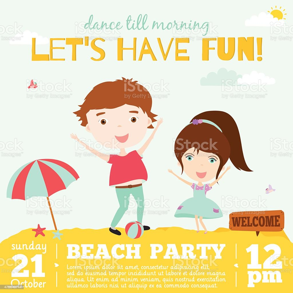 Vector Invitation Card On Summer Beach Party With Smiling Kids Stock Illustration