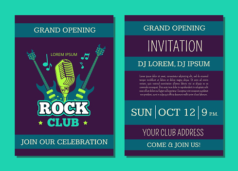 Vector Invitation Card Template Opening Rock Music Club With