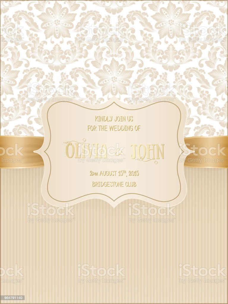 Vektoreinladung Karten Oder Hochzeitskarte Mit Damast Hintergrund