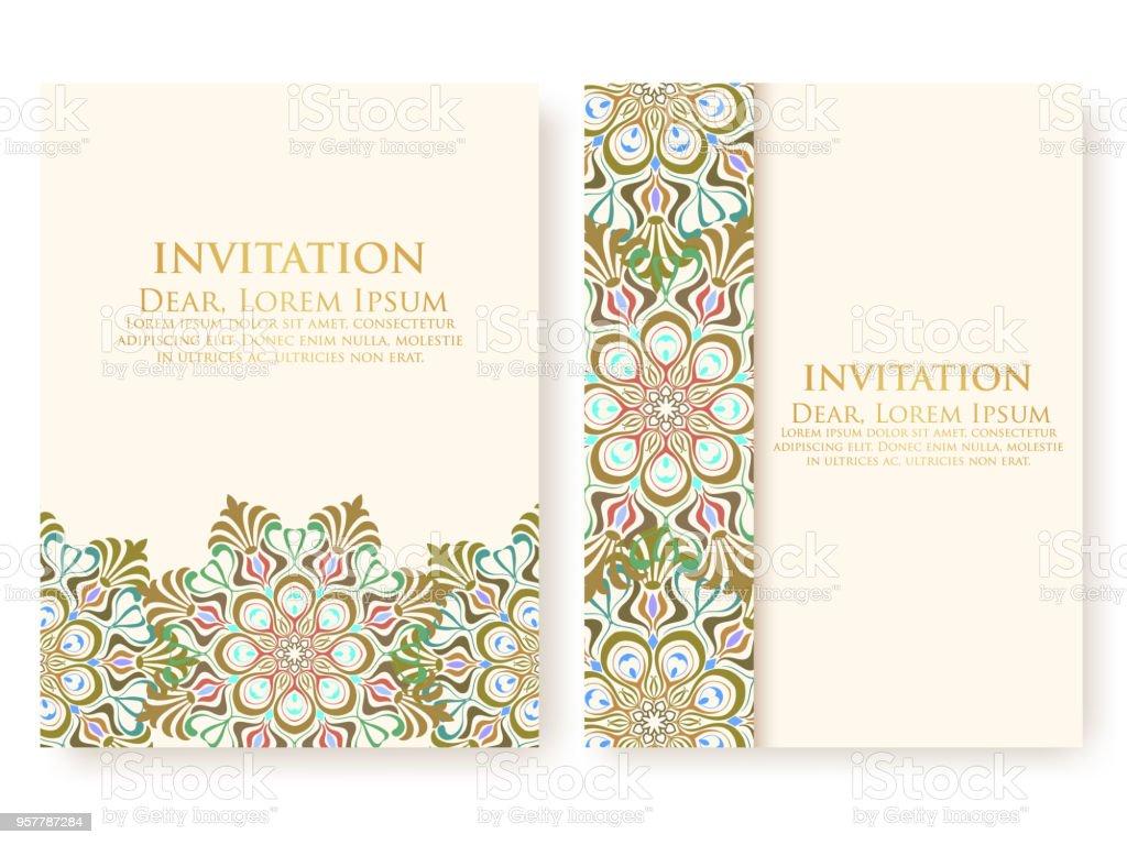Invitation De Vecteur Cartes Avec Des Lments Ethniques Arabesque Dessin Style