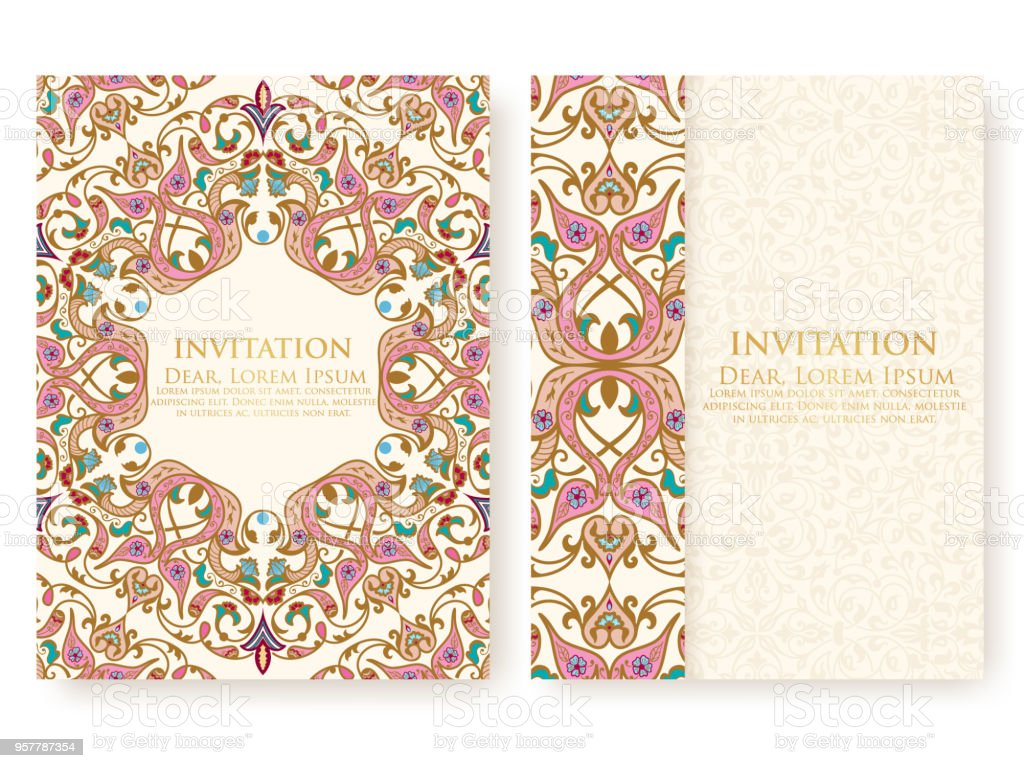 Vector invitation cards with ethnic arabesque elements arabesque vector invitation cards with ethnic arabesque elements arabesque style design elegant floral abstract stopboris Gallery