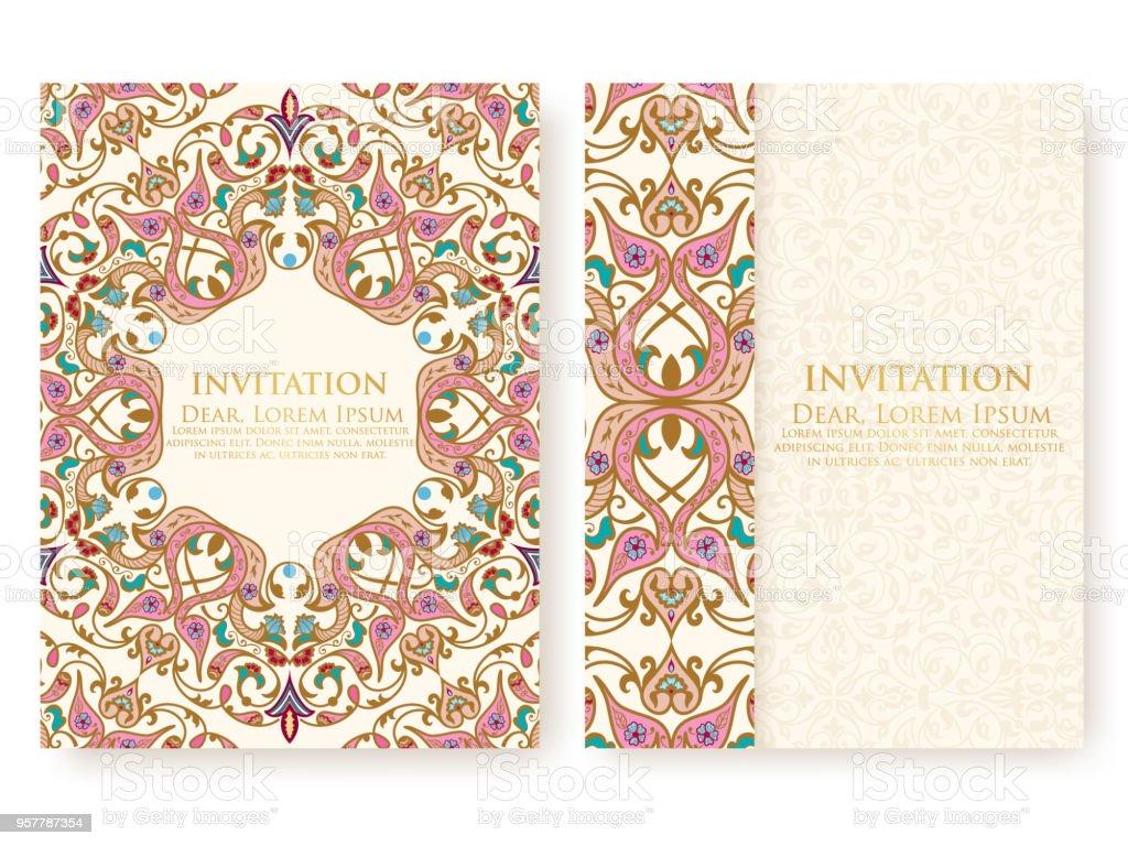 Invitation De Vecteur Cartes Avec Des Elements Ethniques Arabesque Dessin Style