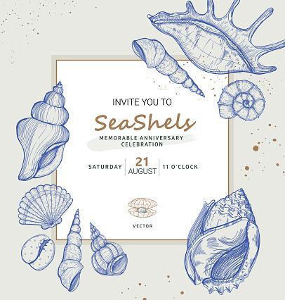 Vector invitation design in the marine theme, perfect for wedding, anniversary, celebration.