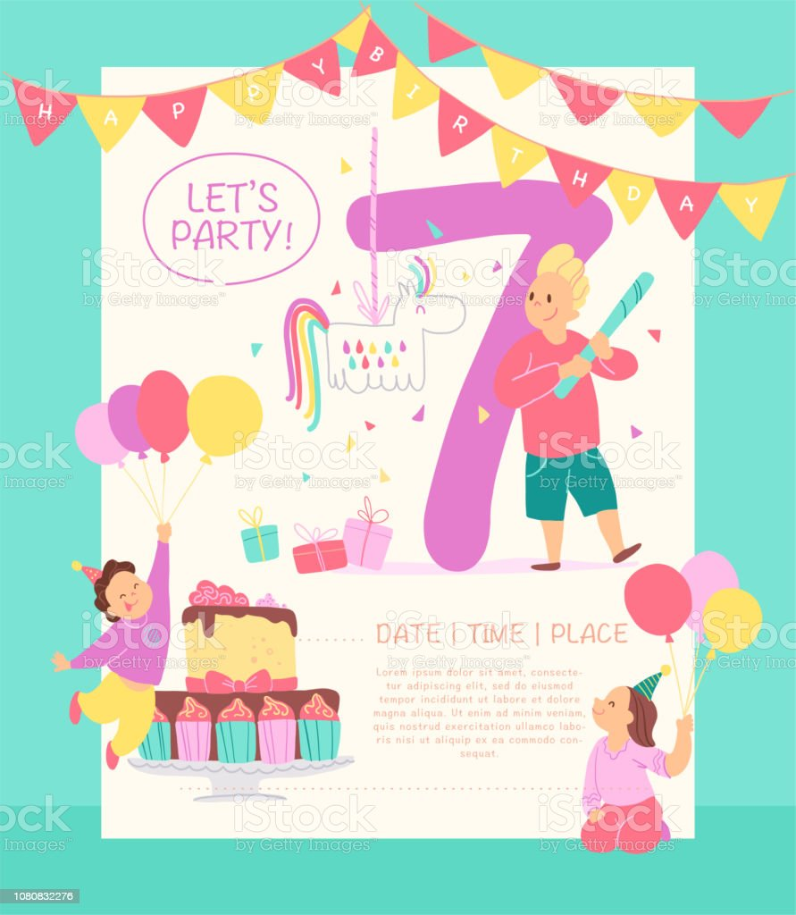 Vector Invitation Design Template For Birthday Party With Bd Cake Garlands Pinata Gifts Balloons Big 7 And Happy Kids Characters Flat Cartoon Style