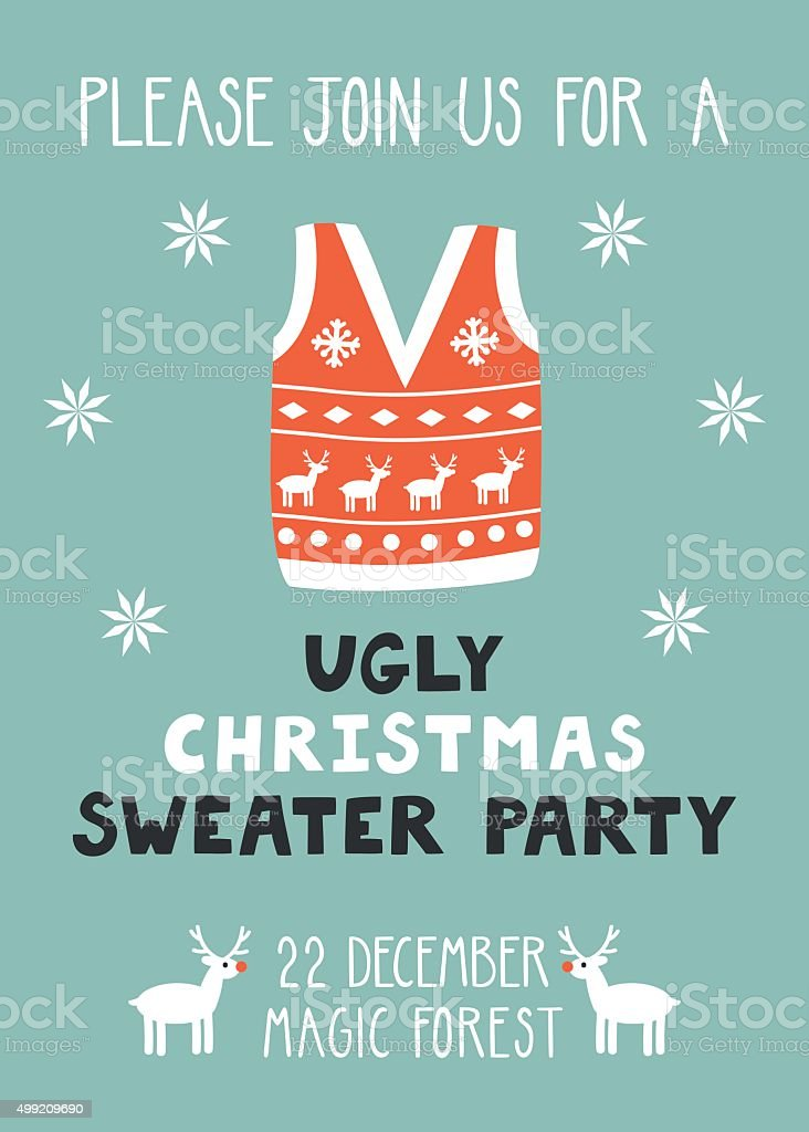 Vector Invitation Template With Ugly Sweater stock vector art ...