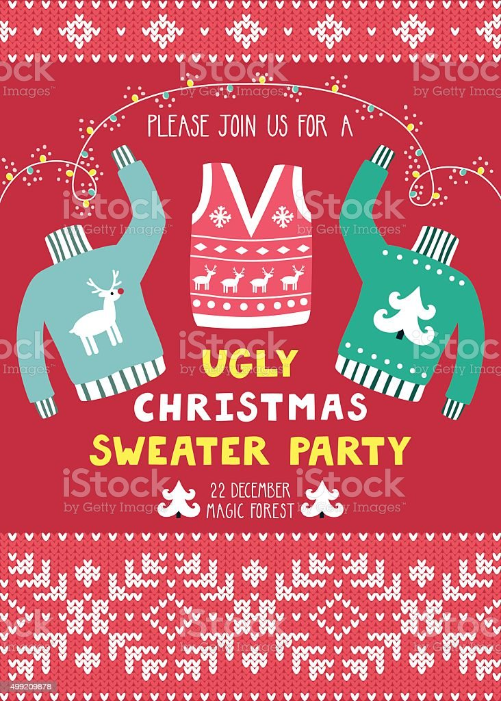 Vector invitation template with ugly sweaters vector art illustration